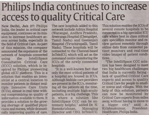 Philips India continues to increase access to quality Critical Care