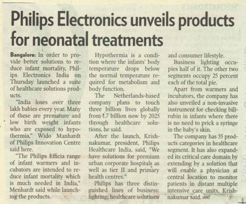 Philips Electronics unveils products for neonatal treatments