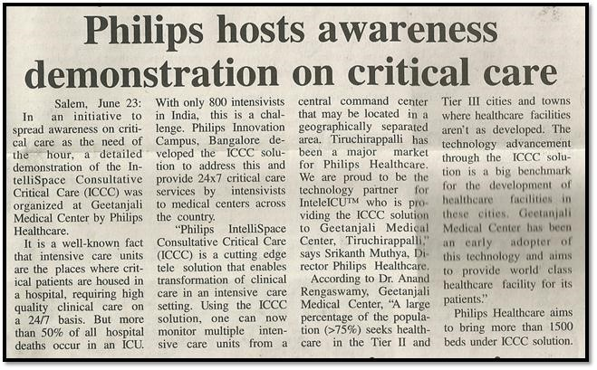 Philips Intellispace Consultative Critical Care enters a new hemisphere
